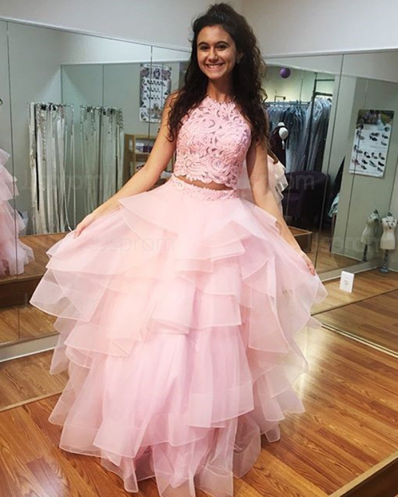 Long Pink Lace Bodice High Neck Ruffled Ball Gown Prom Dress PD1009