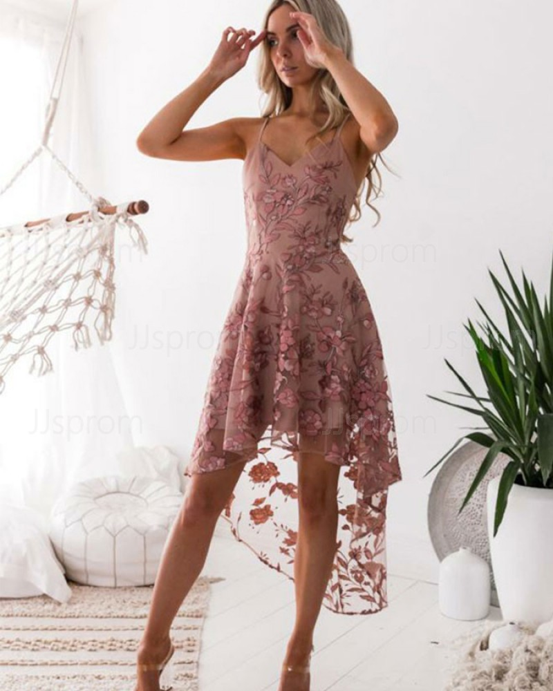 High Low Spaghetti Straps Floral Tulle Homecoming Dress HD3001