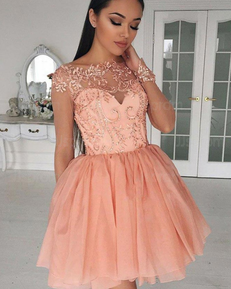 Bateau Coral Pink Sheer Lace Bodice Homecoming Dress with Long Sleeves HD3030