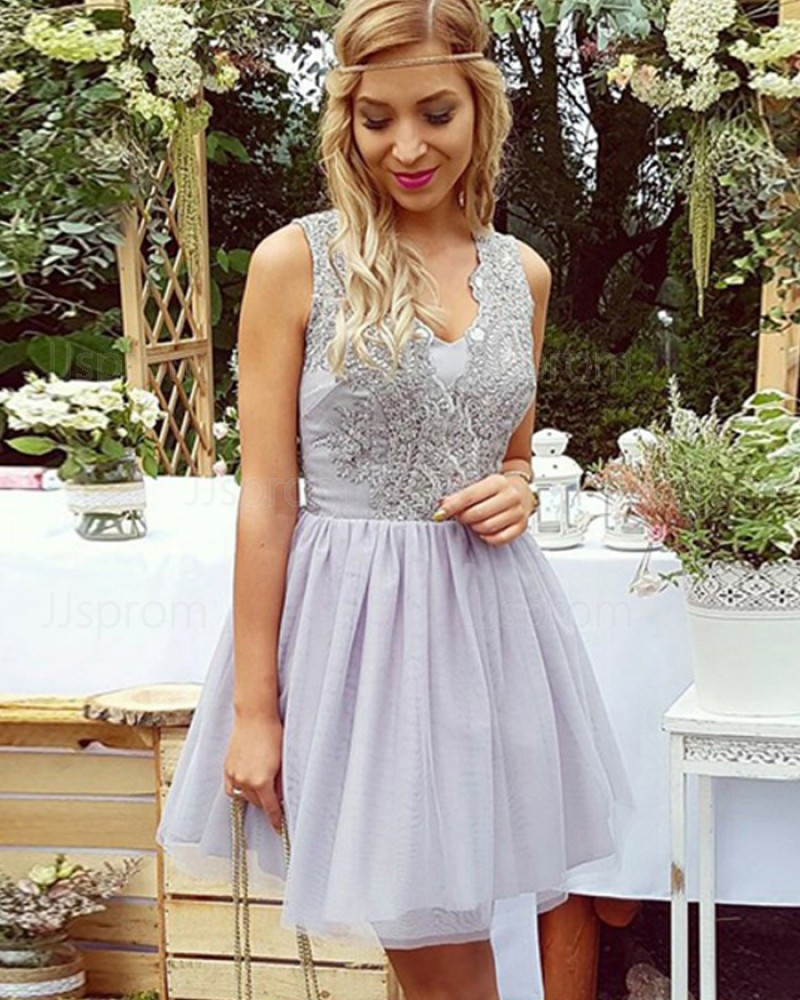 V-neck Beading Lavender Homecoming Dress with Pleated Tulle Skirt HD3063