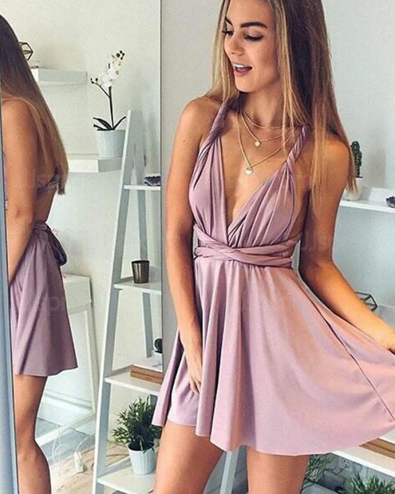 V-neck Satin Short Convertible Lavender Homecoming Dress HD3098