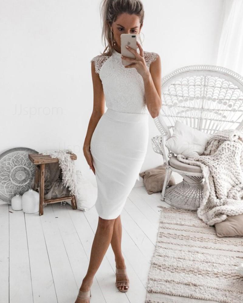 White Tight Lace Bodice High Neck Satin Sheath Club Dress HD3163