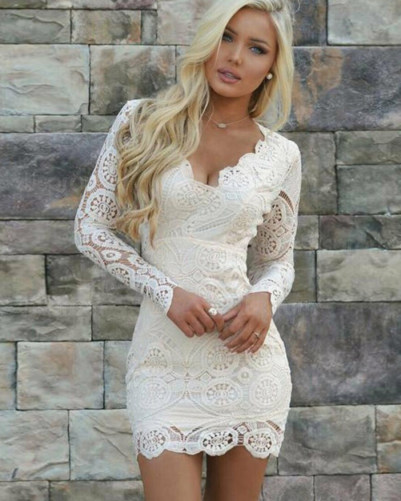 Ivory Lace Queen Anne Tight Party Dress with Long Sleeves HD3171