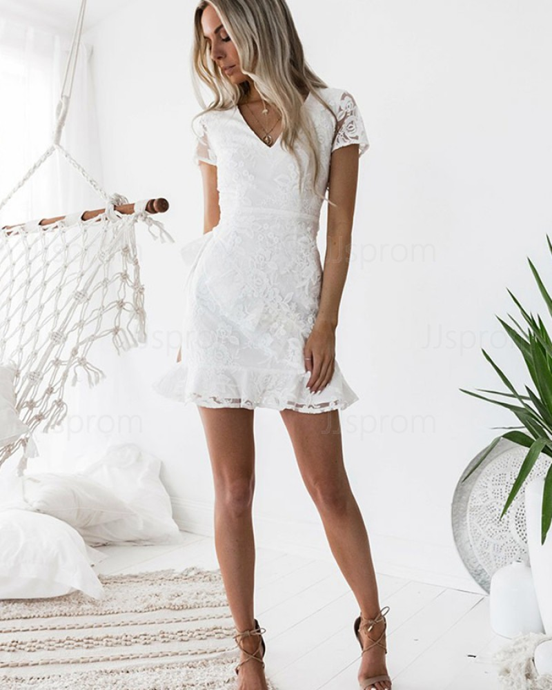 White Sheath V-neck Lace Homecoming Dress with Short Sleeves HD3232