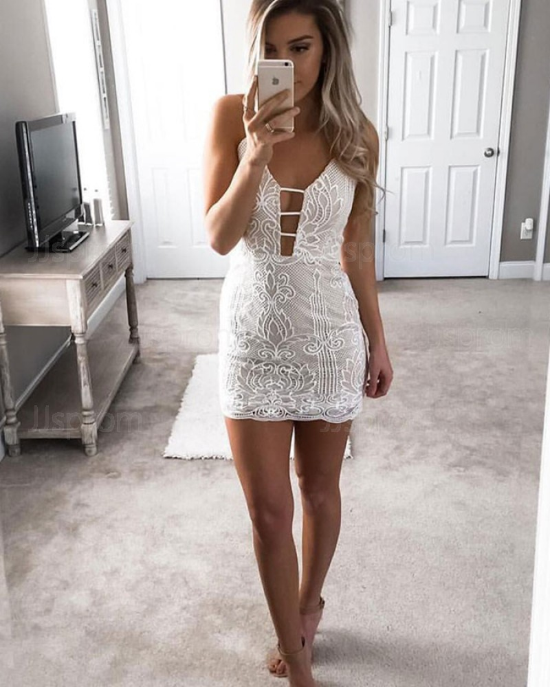 Ivory Tight Lace Spaghetti Straps Cutout Sheath Club Dress HD3240