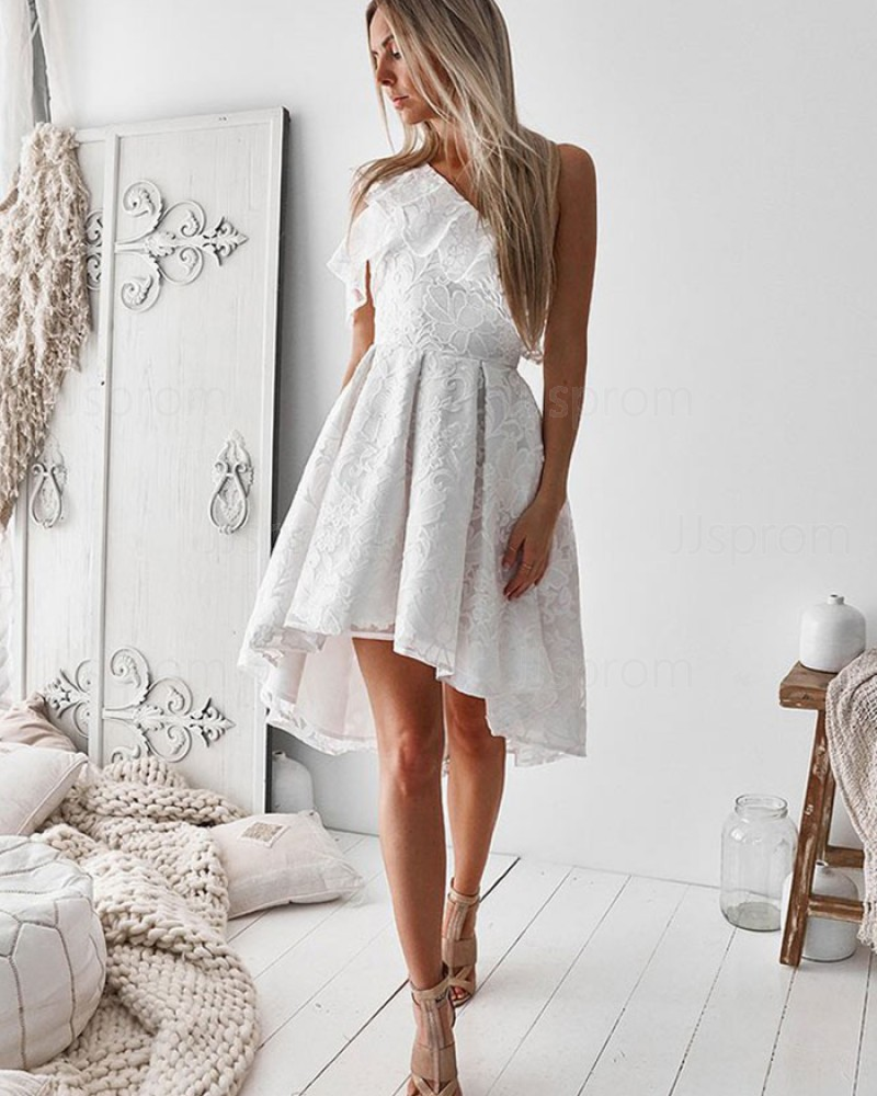 Lace High Low One Shoulder White Homecoming Dress HD3253