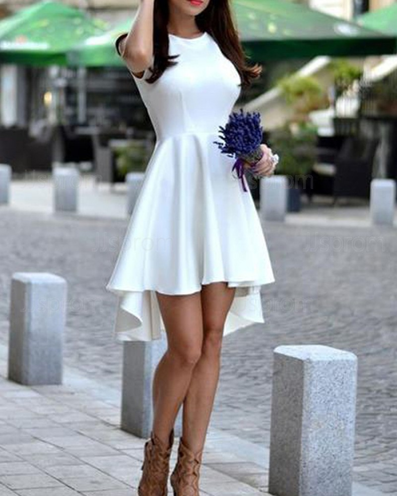 Fit and Flare High Low Jewel White Satin Homecoming Dress HD3268