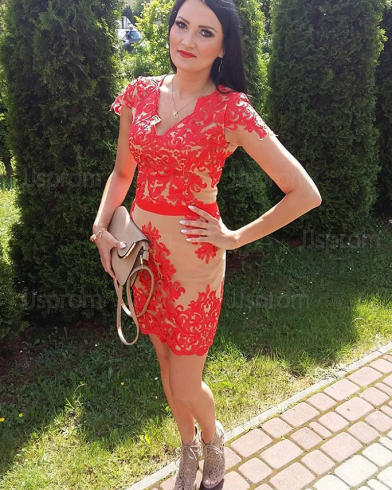 Red Lace V Neck Appliqued Tight Short Formal Dress With Cap Sleeves Hd3340
