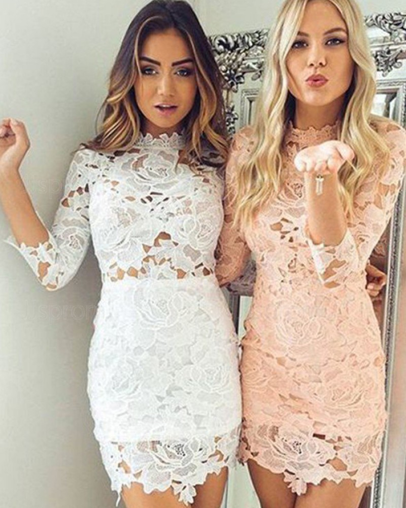 Lace Tight High Neck Graduation Dress with 3/4 Length Sleeves HD3392