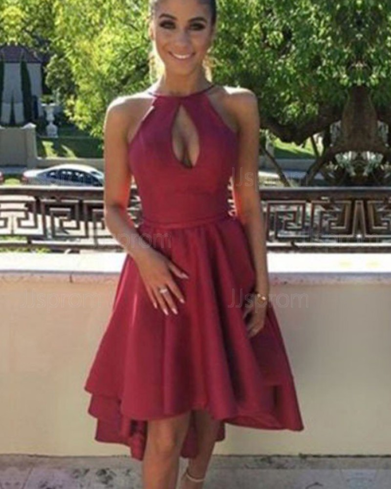 Simple Red Satin Halter High Neck High Low Graduation Dress HD3424