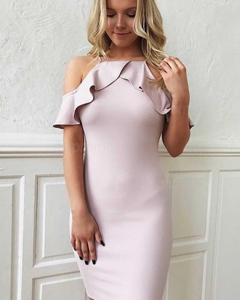 Simple Cold Shoulder Layered Neck Bodycon Light Purple Party Dress HD3475