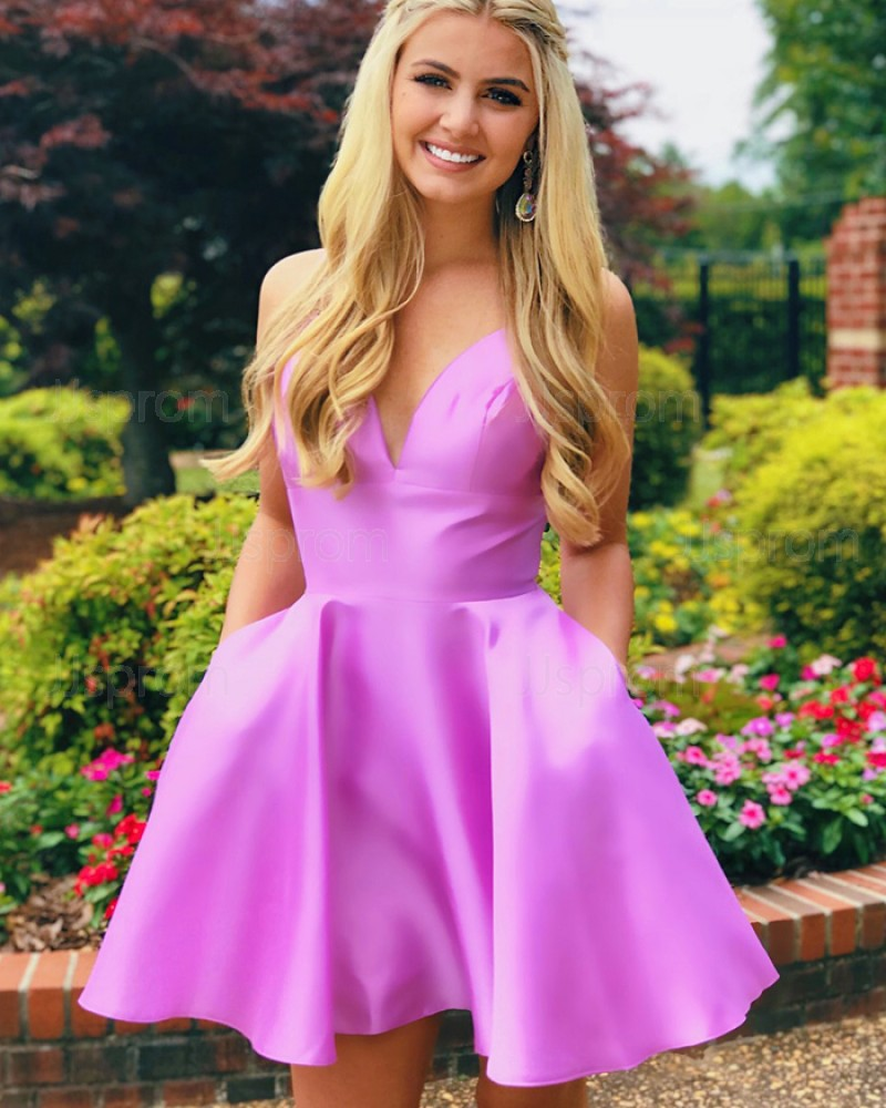 Simple V-neck Light Purple Homecoming Dress with Pockets HDQ3437