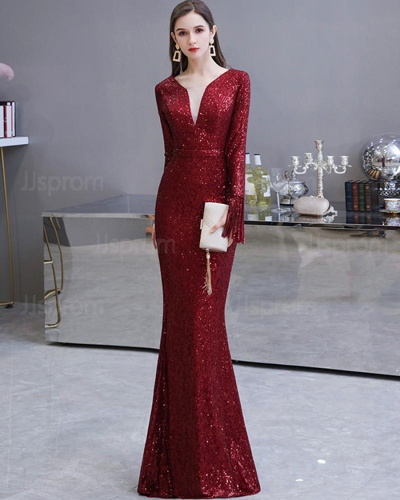 Amazing Burgundy Sequin Mermaid Long Sleeve Evening Dress HG24446