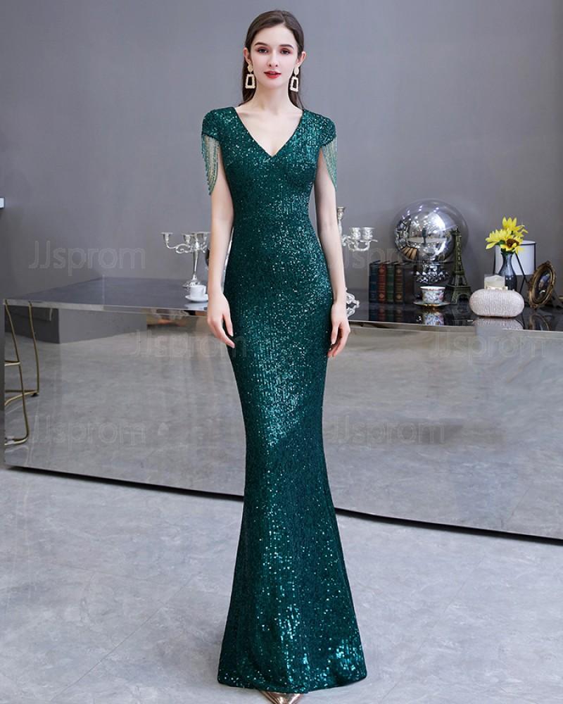 Sequin Green V-neck Mermaid Evening Dress with Tassels Cap Sleeves HG24451