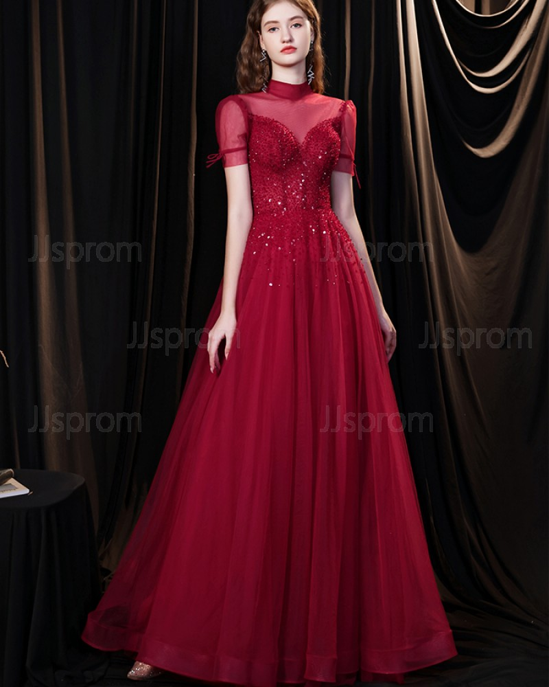 Burgundy Tulle High Neck Beading Evening Dress with Short Sleeves HG361011
