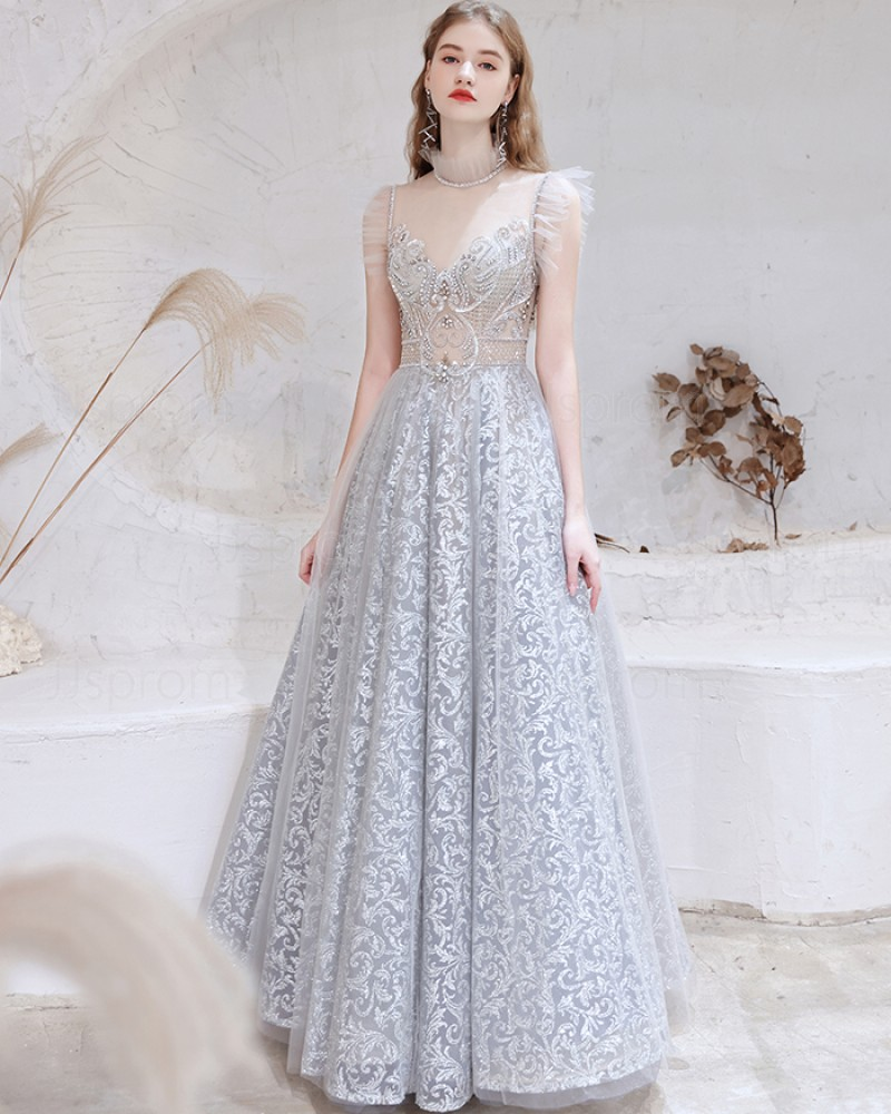 Gorgeous Dusty Blue High Neck Sequin Lace Evening Dress with Cap Sleeves HG551020