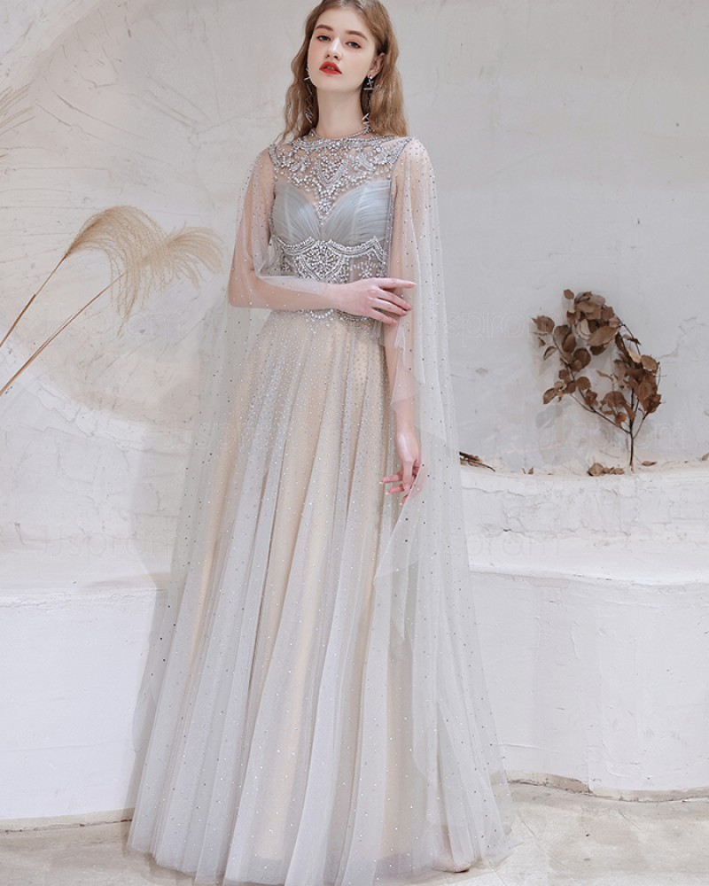 Gorgeous Beading High Neck Tulle Evening Dress with Cape Sleeves HG571016