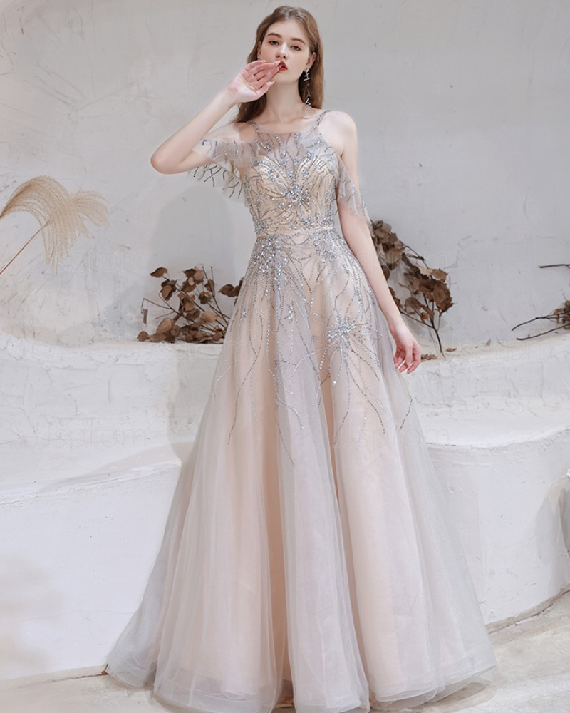 Elegant Dusty Blue Cold Shoulder Beading Tulle Evening Dress HG581018