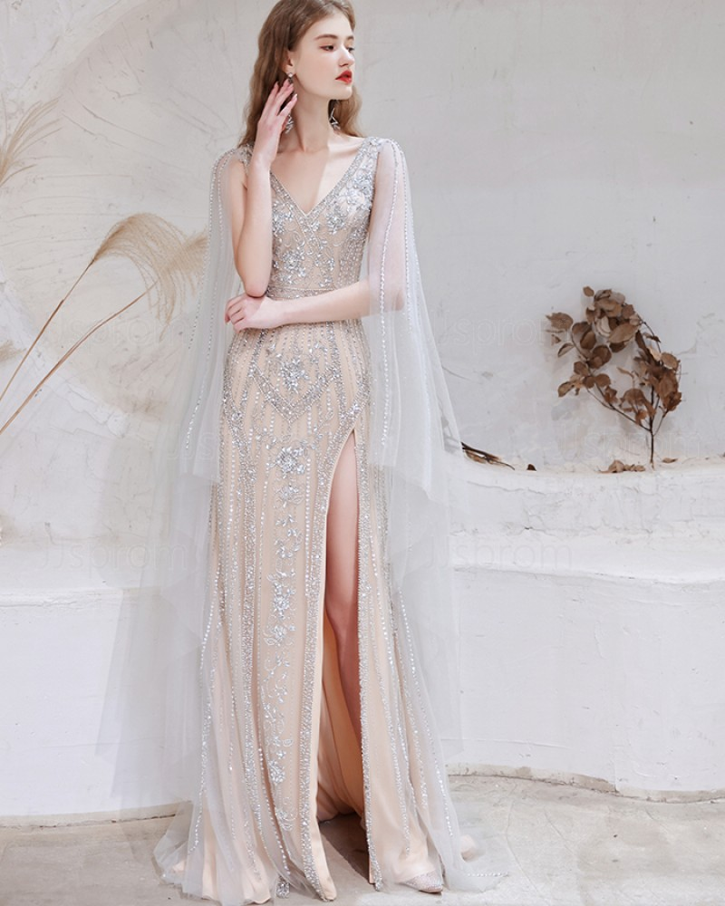 Beading Dusty Blue V-neck Cape Sleeves Evening Dress with Side Slit HG931019