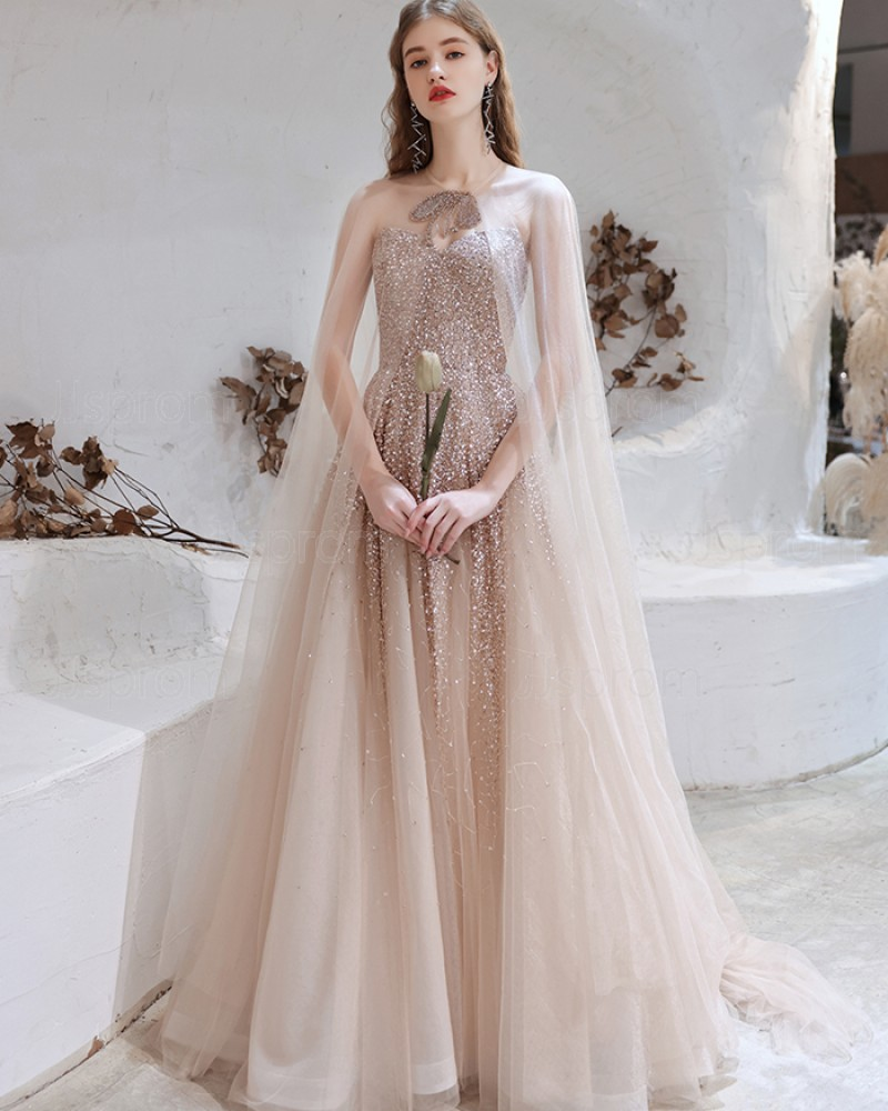 Rose Gold Sweetheart Sequin Tulle Evening Dress with Tulle Cape HG991021