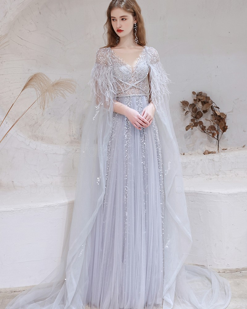 V-neck Dusty Blue Sequin Tulle Evening Dress with Feather Cape HG991022