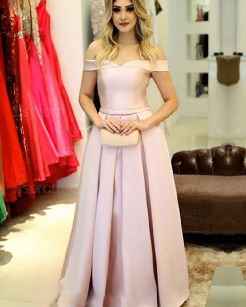 Light Pink Satin Simple Off the Shoulder Pleated Prom Dress PD1666