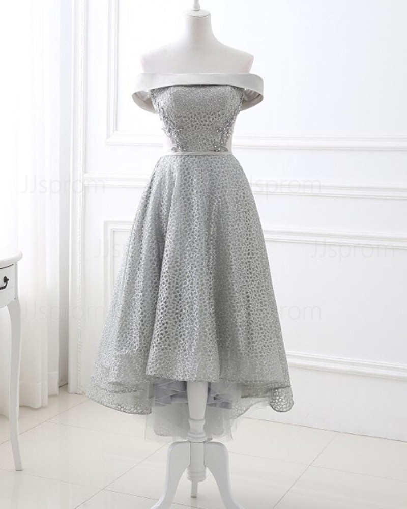 Silver Sequin Off the Shoulder Lace High Low Formal Dress PD1707