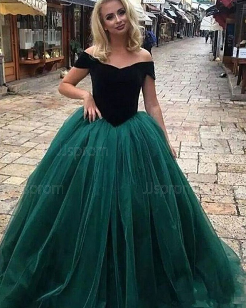 Black & Green Off the Shoulder Evening Gown PD1709
