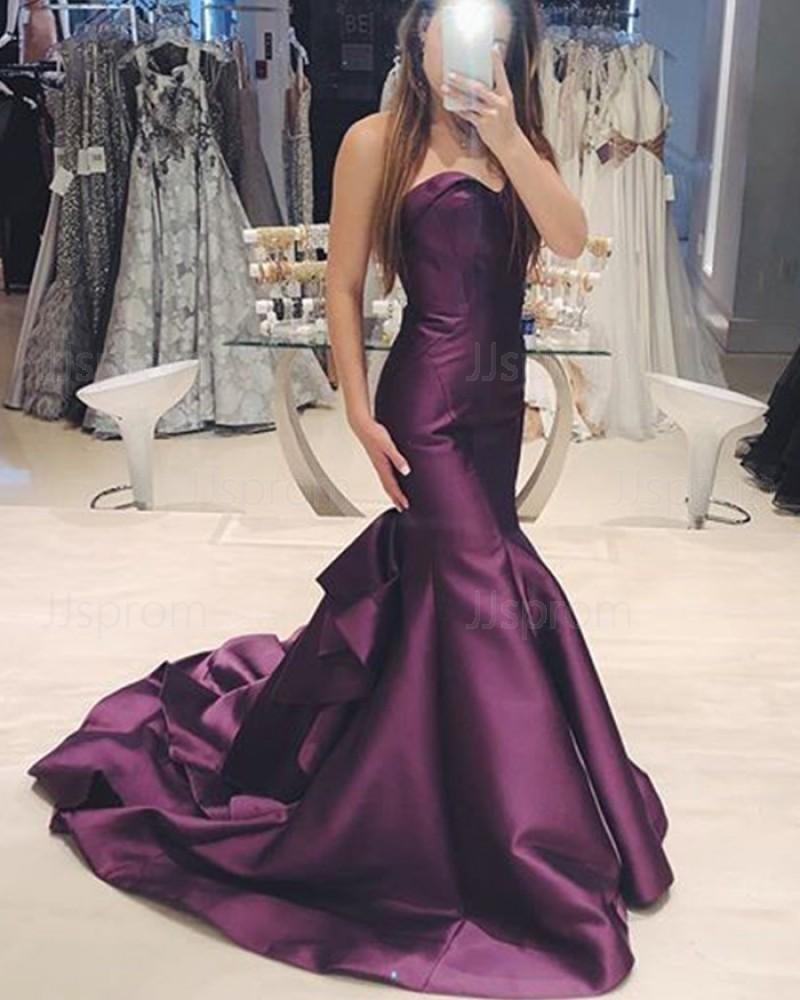 Purple Satin Sweetheart Mermaid Prom Dress PD1749