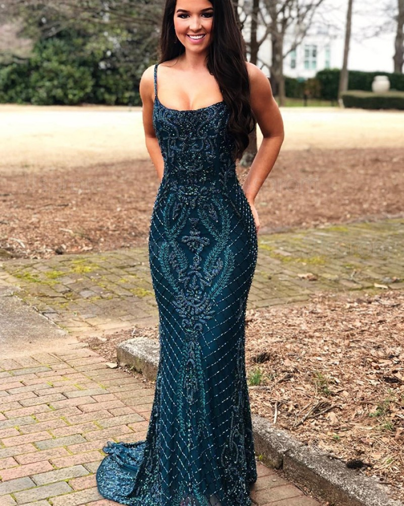 Gorgeous Lace Navy Blue Square Beading Mermaid Evening Dress PD1766