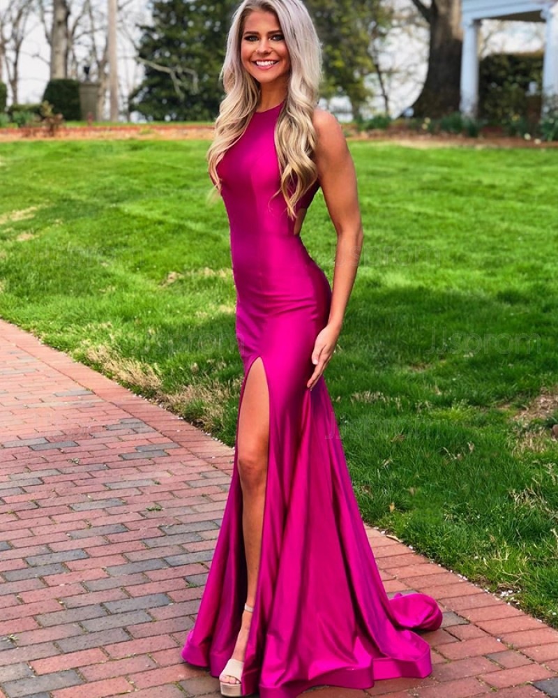 Simple Rose Red Satin High Neck Mermaid Prom Dress with Side Slit PD1769