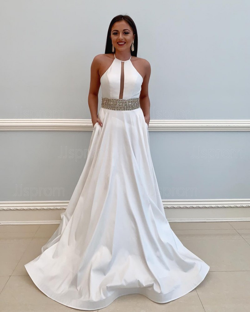 Satin Beading High Neck White Prom Dress with Pockets PD1793