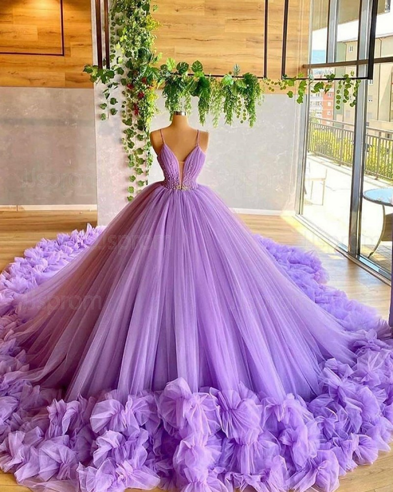 Lavender Beading Bodice Tulle Spaghetti Straps Evening Dress with Handmade Flowers PD2030