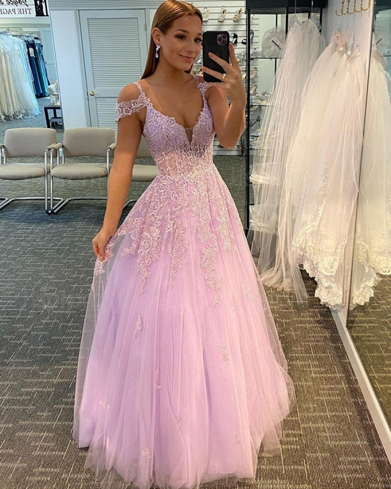 Lace Applique Cold Shoulder Tulle Pink Prom Dress PD2053