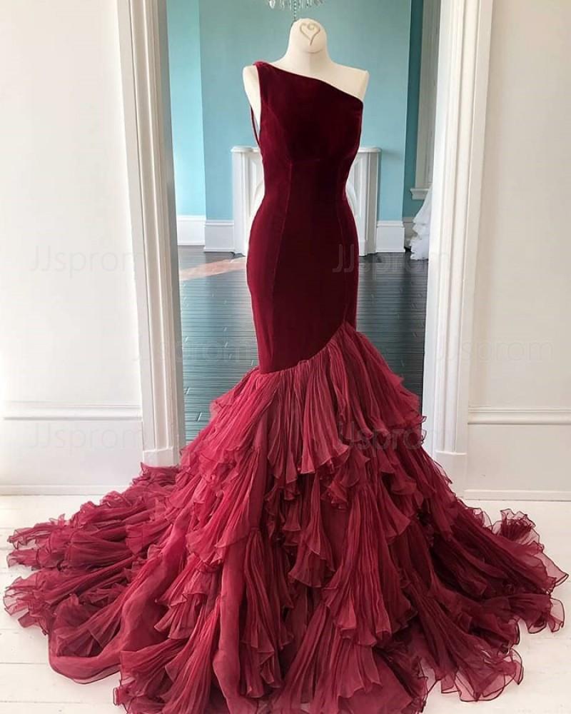 Burgundy Velvet One Shoulder Ruffled Mermaid Prom Dress PD2056