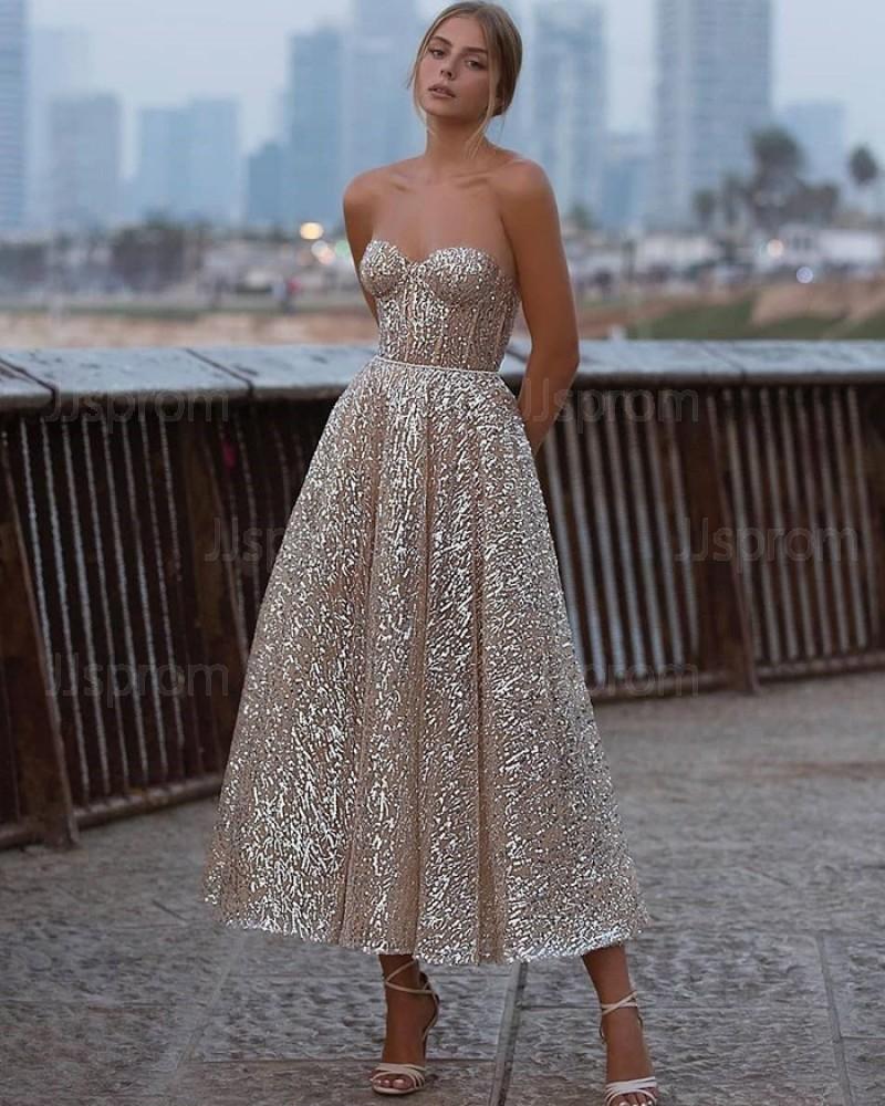 Ankle Length Gold Metallic Sweetheart Graduation Dress PD2058