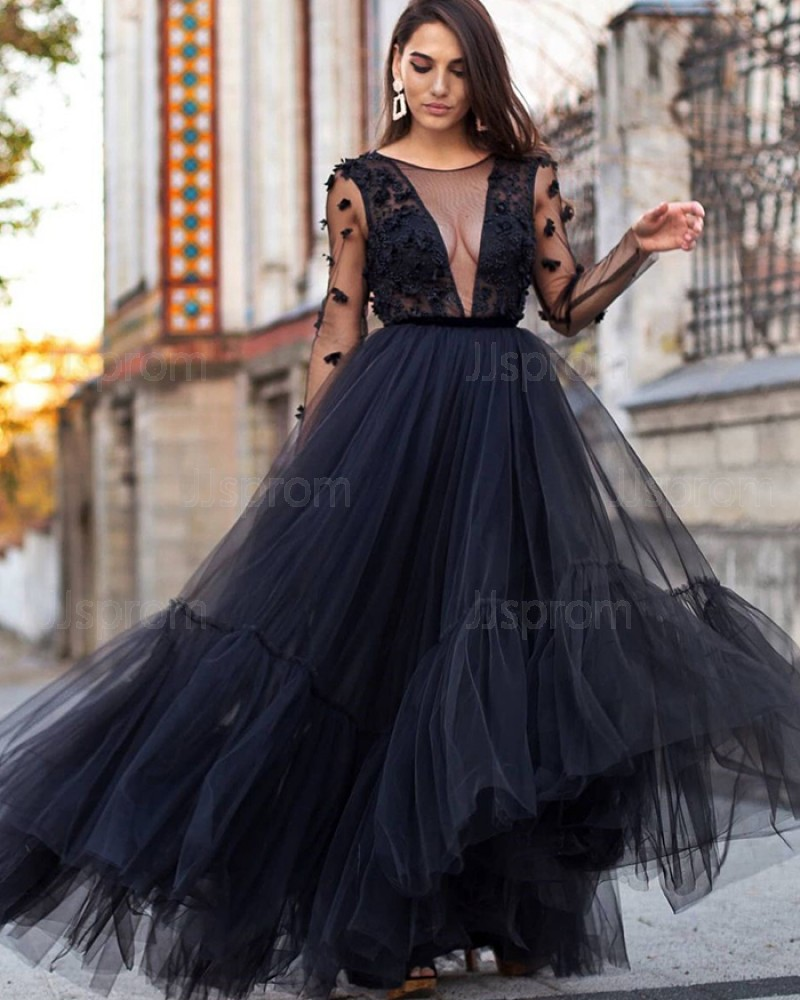 Tulle Black 3D Flowers Pleated Jewel Neck Prom Dress with Long Sleeves PD2097