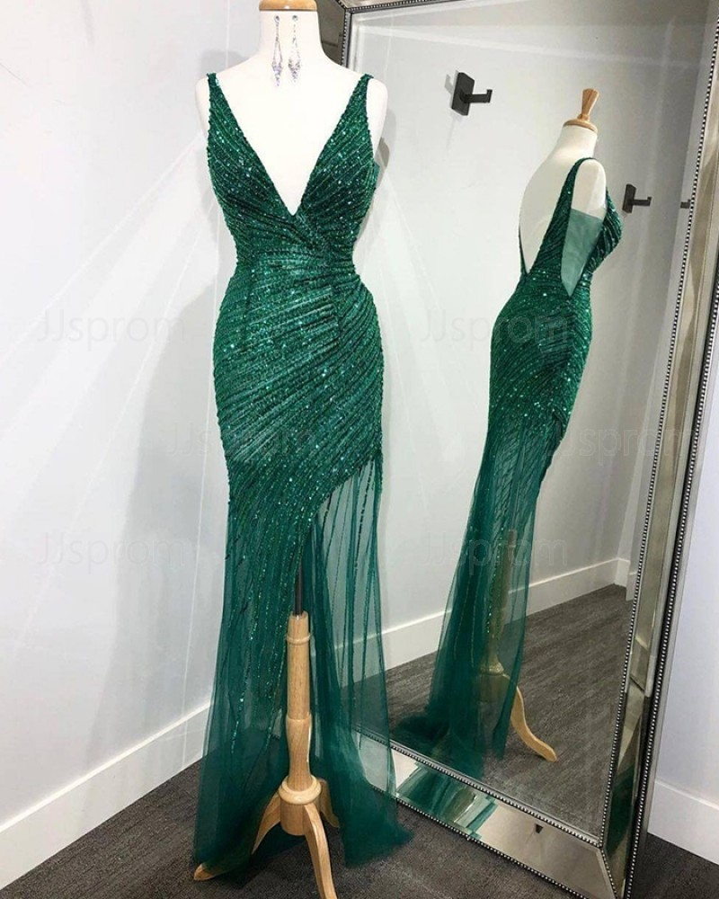 Sequin Ruched Green V-neck Mermaid Prom Dress with Side Slit PD2110