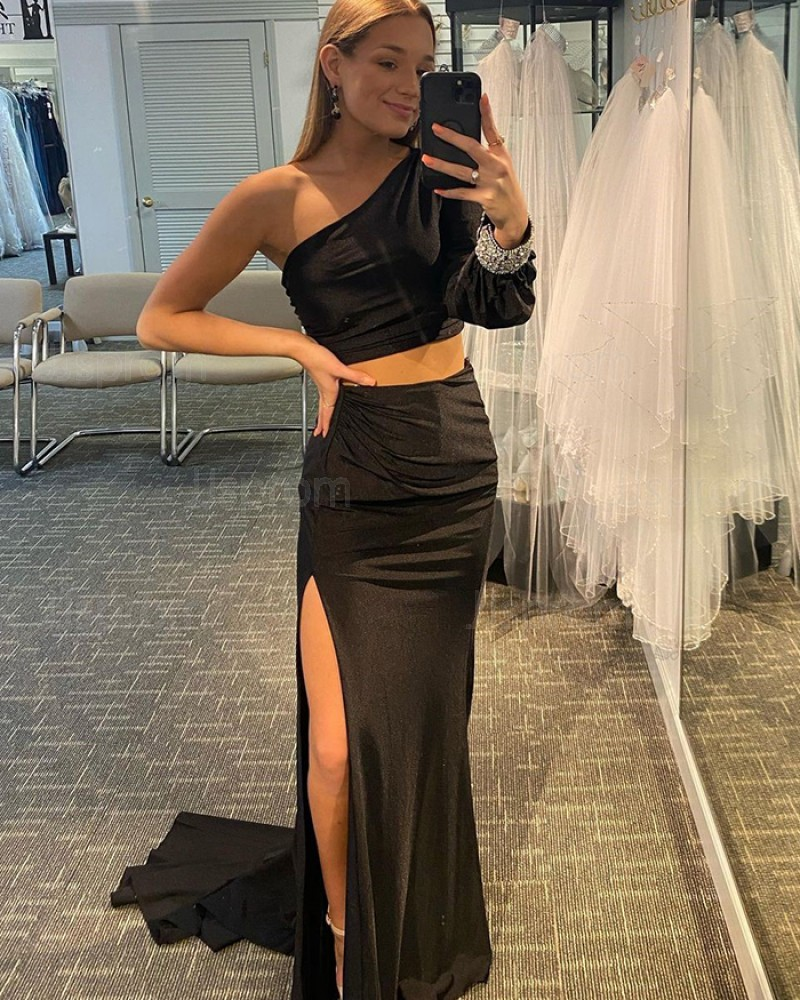Black Two Piece Long Sleeve Mermaid One Shoulder Prom Dress with Side Slit PD2140