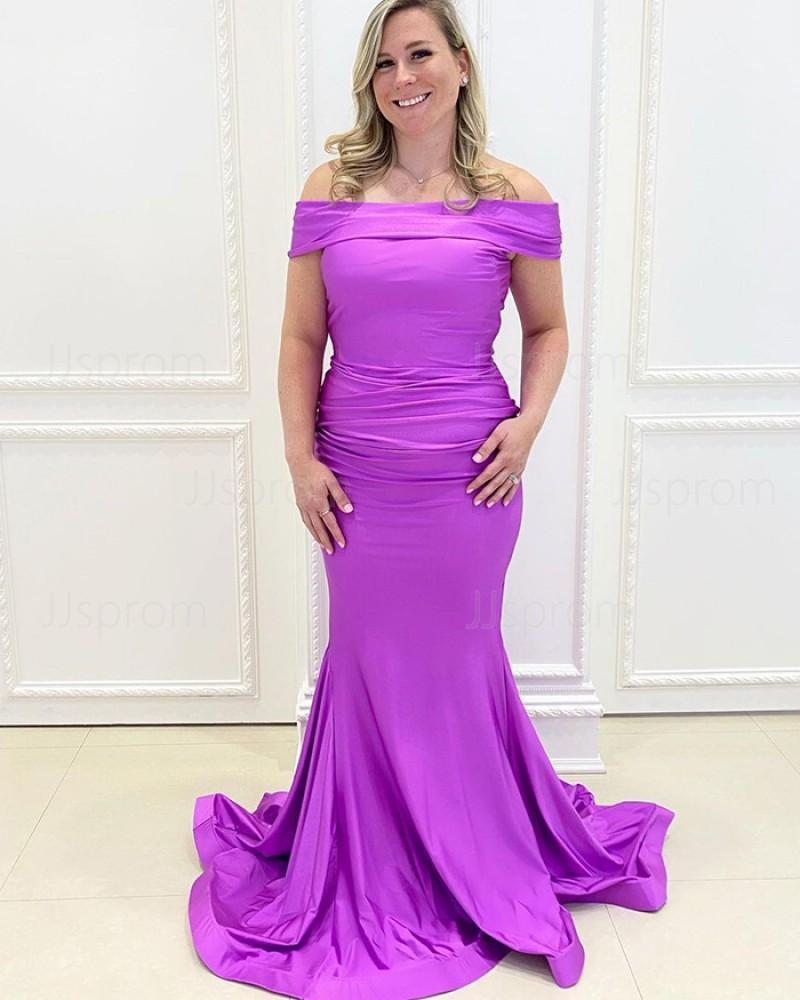 Off the Shoulder Purple Satin Mermaid Simple Prom Dress PD2154