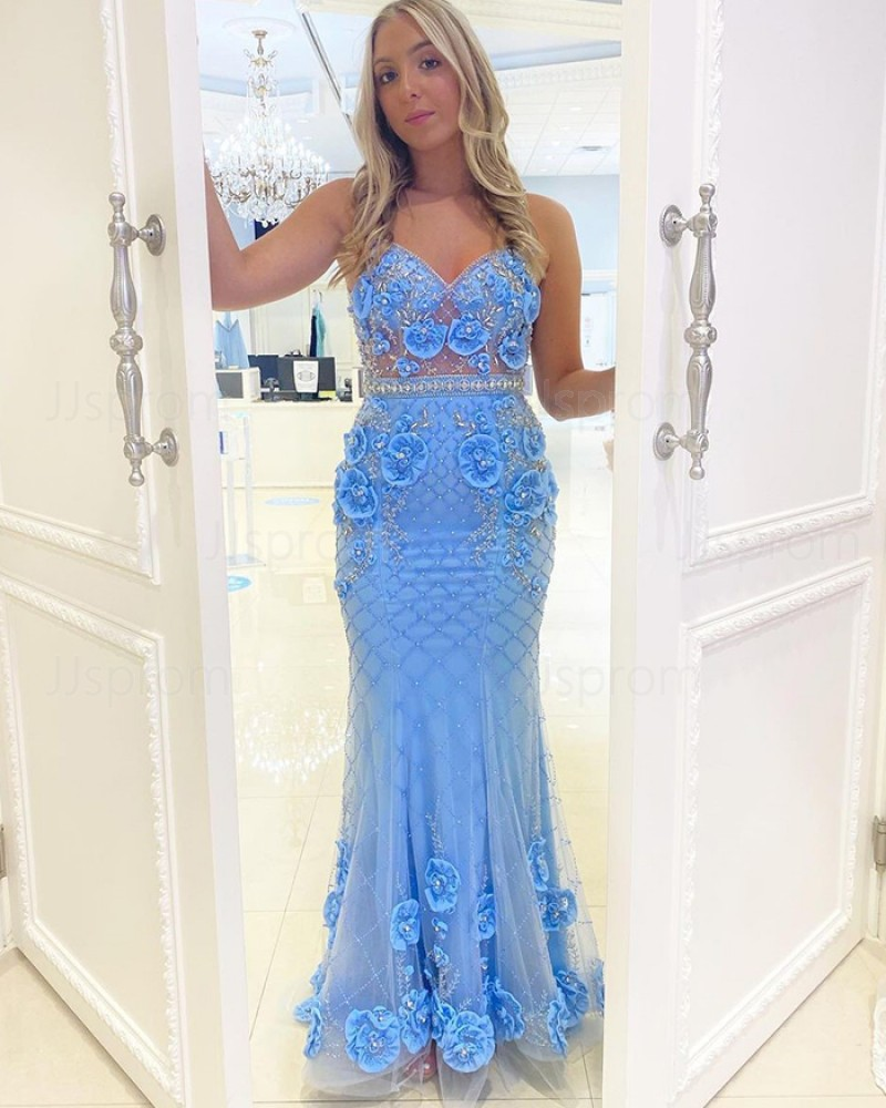 Light Blue Beading Spaghetti Straps Mermaid Prom Dress with 3D Flowers PD2160