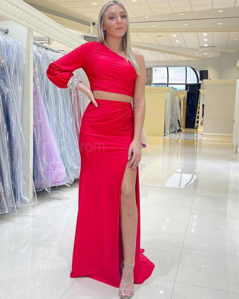 One Shoulder Beading Red Long Sleeve Mermaid Two Piece Prom Dress with Side Slit PD2170
