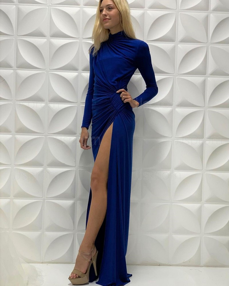 Blue Ruched Satin High Neck Long Sleeves Prom Dress With Side Slit PD2215