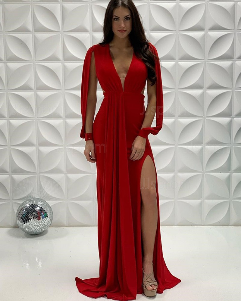 Red Pleated Mermaid Deep V-Neck Side Slit Prom Dress With Hanging Sleeves PD2241