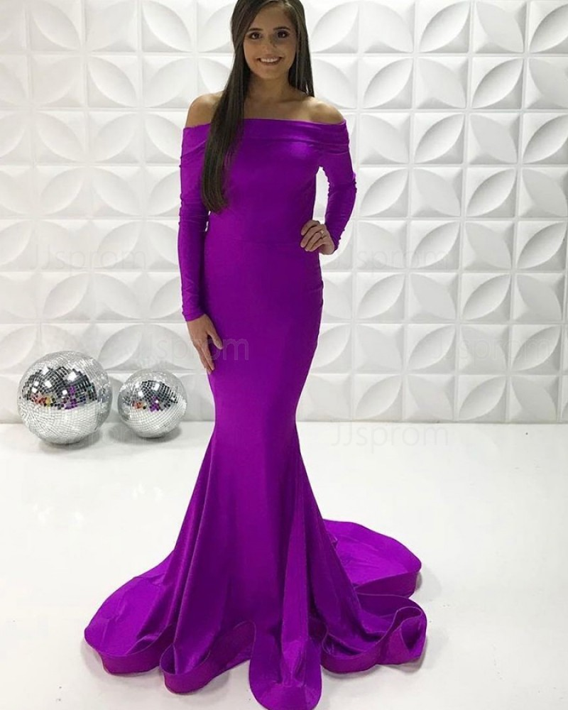 Off The Shoulder Purple Simple Satin Mermaid Prom Dress With Long Sleeves PD2253
