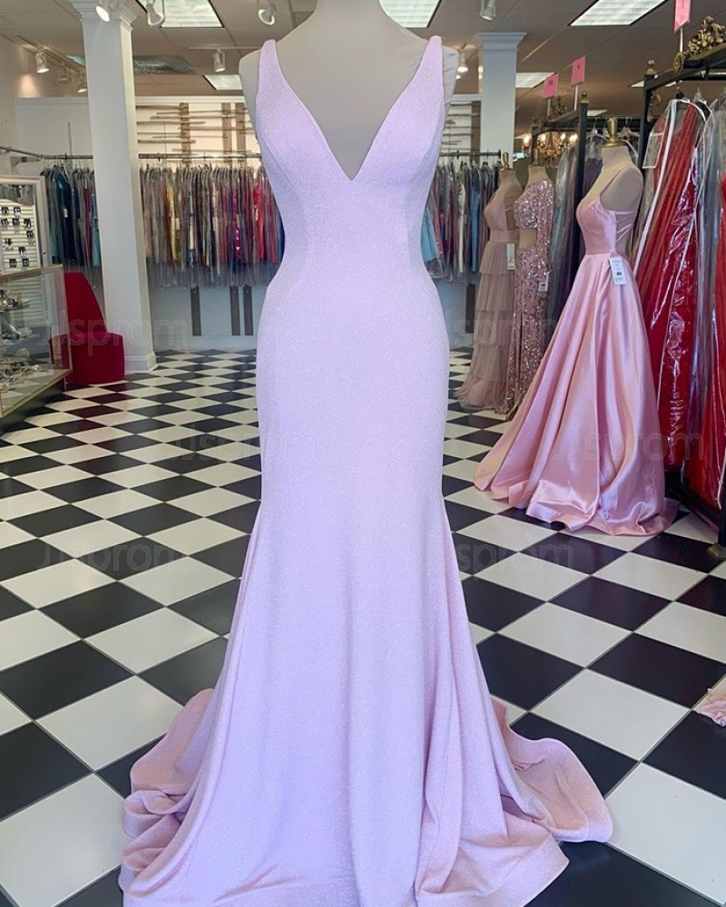 Pearl Pink V-Neck A-Line Mermaid Prom Dress PD2264