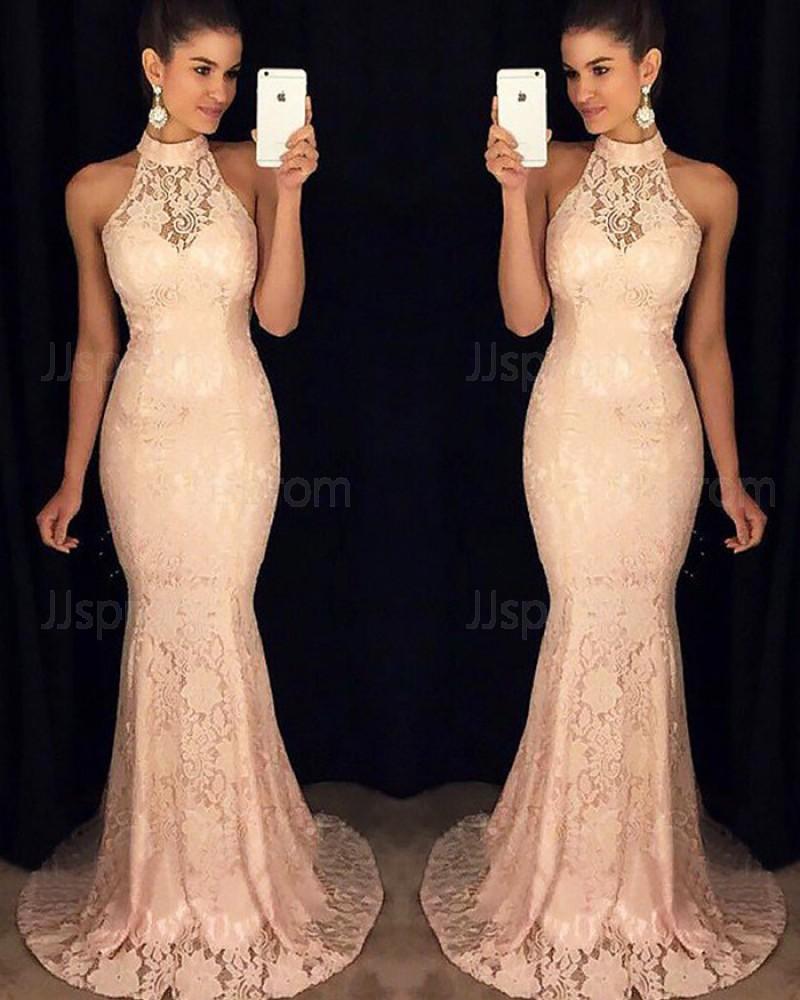 Elegant Long Pink High Neck Mermaid Lace Formal Dress PM1141
