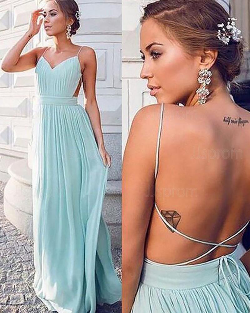 Long Mint Chiffon Spaghetti Straps Pleated Prom Dress PM1167