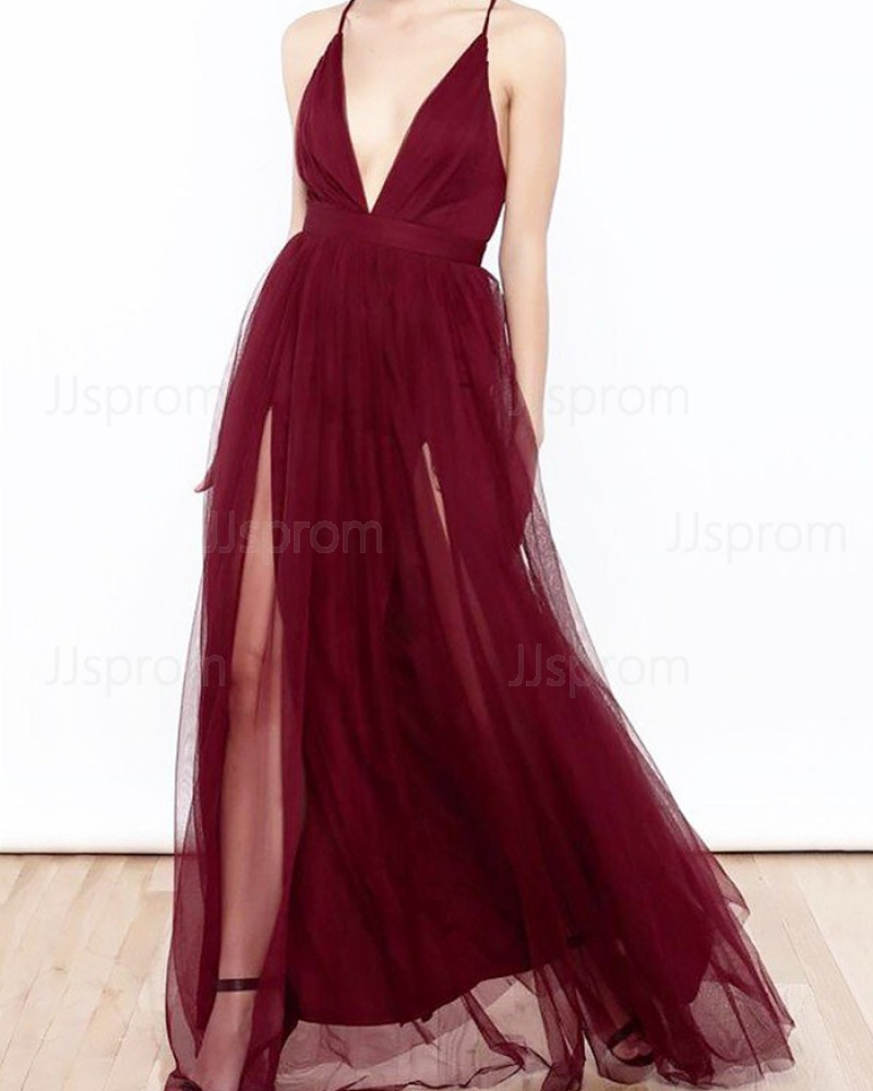 Long Burgundy Spaghetti Straps Tulle Prom Dress with Double Slits PM1197