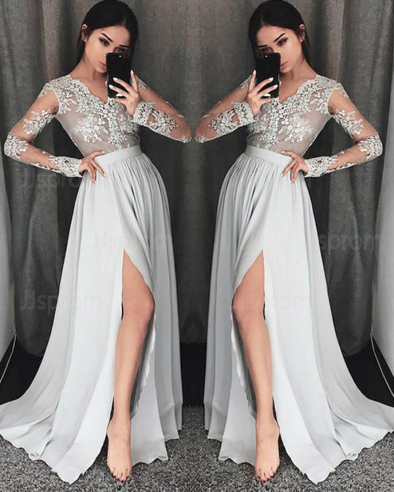 Gray Chiffon V-neck Appliqued Side Slit Prom Dress with Long Sleeve PM1205